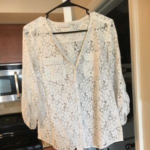Quarter Sleeve Shirt with White flower pattern